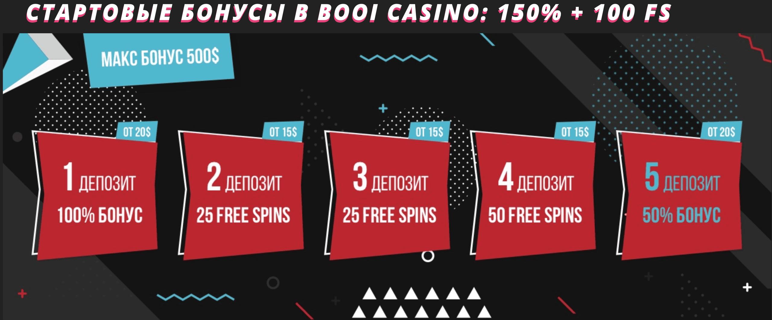 Бонусные предложения и бонусы и в онлайн казино Booi